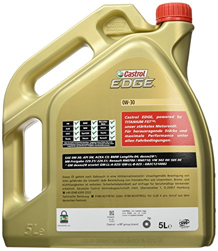 5 litro castrol edge titanium fst 0w 30 olio motore. Black Bedroom Furniture Sets. Home Design Ideas