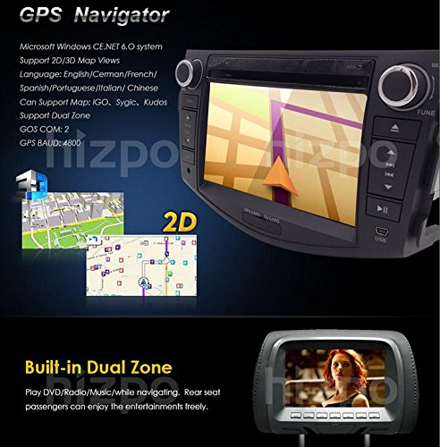 Hizpo Car in Dash Radio for Toyota RAV4 2006 2007 2008 2009 2010 2011 2012  7 inch Monitor DVD Player GPS Navigation Stereo Bluetooth SWC Subwoofer